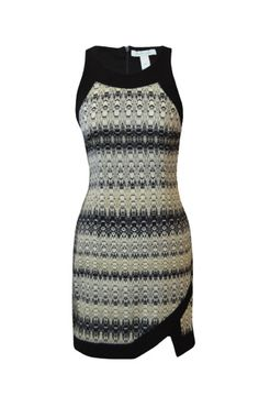 Charlie Jade black, brown, stripe print fitted dress with black trim. #getfussed