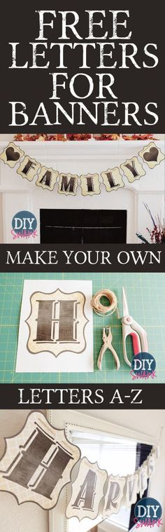 Free Printable Banner Letters; see also library board for other FREE letters