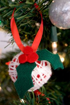 #christmas #diy #ornament yarn ball