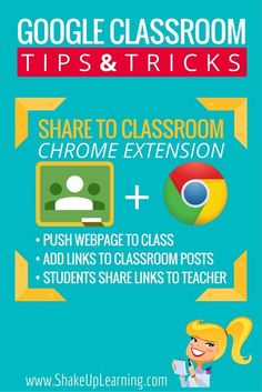 Share to Classroom Chrome Extension! Get all your students to the same page instantly! This Chrome extension is awesome. In just a click you can push out a link to all of your student's computers or chromebooks. If you are using Google Classroom, this is a must-have!