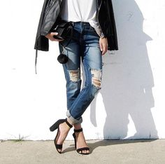 can never go wrong with Destroyed jeans, white tee, & leather jacket #blogger @cphraph outfit featuring our destroyed knees capri jeans ($29). http://www.2020ave.com/products/destroyed-knees-capri-denim-jeans?utm_source=soldsie&utm_medium=referral&utm_campaign=160211_destroyedkneescapridenimjeans