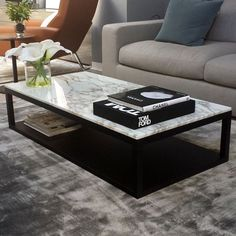 Verona Marble & Wood Coffee Table Verona Marble Coffee Table in Calacatta Gold marble top with wenge base Marble Top Coffee Table, Black Coffee Tables, Coffe Table, Coffee Table Design, Marble Coffee Tables, Stone Coffee Table, Calacatta Gold Marble, Marble Wood, Contemporary Furniture Stores