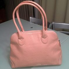 Jessica Simpson big bag...NwoT.. Crocodile leather look in pretty peachy pink color.Never used, brand new . In the last picture I am trying to show you a minor abrasion, not even visible . Very tiny. I have no idea how its happened. Jessica Simpson Bags Shoulder Bags