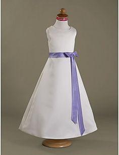 A-line/Princess Floor-length Flower Girl Dress - Satin Sleev... – USD $ 69.99