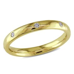 Miadora 14k Yellow Gold 1/6ct TDW Diamond Wedding Band (G-H, SI2-SI2) (Size 6.5), Women's