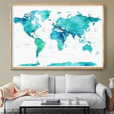 World map large world map watercolor world map world map art world map large world map watercolor world map world map art wall art world map poster home decor map of the world art travel l25 pinterest gumiabroncs Image collections