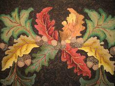 """""""Oak Scrollings"""" a Jane Flynn design. Hooked by Anita White"""