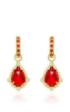 One of a kind fire opal pear shape drops and large bezel huggie in red sapphire by ERICA COURTNEY Preorder Now on Moda Operandi #opalsaustralia