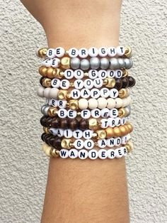 Words of Encouragement Stretch bracelets - kandi bracelets Rave Bracelets, Letter Bead Bracelets, Pony Bead Bracelets, Friendship Bracelets With Beads, Diamond Cross Necklaces, Summer Bracelets, Stretch Bracelets, Gold Bracelets, Diamond Earrings