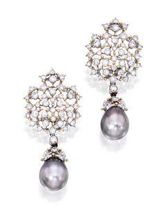 Buccellati gray pearl & diamond earrings