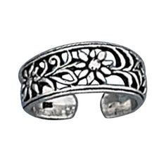 Wide Graduated Band Cutout Daisy Flowers Adjustable Toe Ring