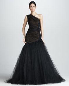 Monique Lhuillier One-Shoulder Lace Gown