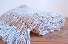 Chunky Knit Blanket // Hand Knitted Throw Blanket With Fringe // Hand Knitted Afghan // Cozy Chunky Knit Blanket With Fringe // Knit Blanket