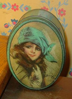 Art Deco Small Oval Tin with Winter Giri on the Lid and Signed