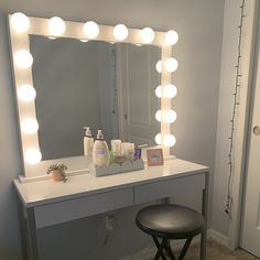 Low shipping & financing Vanity Mirror with lights Ring Light Mirror, Mirror With Light Bulbs, Diy Vanity Mirror With Lights, Light Up Vanity, Bulb Mirror, Giant Mirror, Bathroom Mirror Lights, Diy Mirror, Small Vanity Mirror