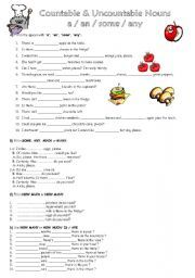 English worksheet: a an some any