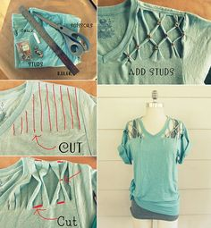 16 easy hacks re cycle diy shirt, diy clothes и shirt hacks Diy Clothes Tutorial, Diy Clothes Refashion, Diy Clothing, Sewing Clothes, T Shirt Hacks, T Shirt Diy, T Shirt Crafts, Diy Tshirt Ideas, Diy Camisa