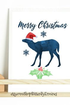 Add some love to your home with this printable deer artwork! Printing your own Christmas wall art from home is fast, easy and affordable. This deer artwork is part of our Merry Christmas animal collection with about 50 different dogs! Decorate your children's room, nursery, bedroom, living room for XMAS with a print of your favorite dog! Perfect for animal lovers no matter if you decorate your own bedroom or for a baby or toddler boy or girl.  #christmasdecor #christmasdog #xmasdecorations Christmas Wall Art, Christmas Deer, Christmas Animals, Merry Christmas, Boys Camping Room, Deer Wall Art, Santa Claus Hat, Etsy App, Xmas Decorations