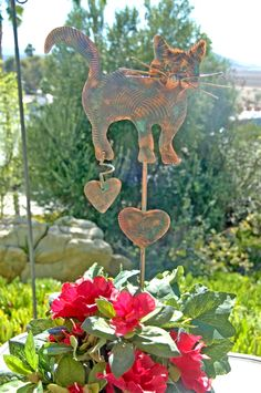 Cat Memorial Metal Yard Art Copper Garden Plant Stake Features An Adorable  Cat Angel That Loves A Butterfly. Created With Artistic Creative Copper U2026