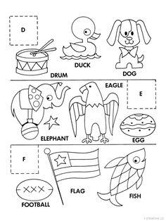 Alphabet Cut and Paste Activity Sheets, Alphabet Matching coloring page sheets letters D-E-F J Alphabet, English Alphabet, Craft Activities For Kids, Kindergarten Activities, Preschool, Folder Games, File Folder, Letter Matching, Letter Of The Week