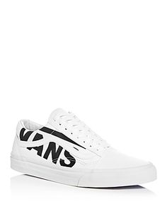 a582136114 Vans Men s Old Skool Logo Canvas   Leather Lace Up Sneakers Men -  Bloomingdale s