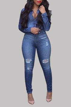 Get Inspired with this Latest Denim Fashion Styles that you can use to improve on your fashion sense when it comes to rocking your favourite Denim Jeans . Sexy Outfits, Chic Outfits, Fashion Outfits, Womens Fashion, Fashion Boots, Latest Fashion, Curvy Girl Fashion, Plus Size Fashion, Two Piece Pants Set