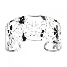 Flowers Pattern Cuff Bangle Bracelet