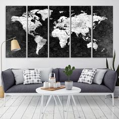 10529 large wall art world map canvas print navy blue watercolor 19046 large wall art world map push pin canvas print black push pin world gumiabroncs Image collections