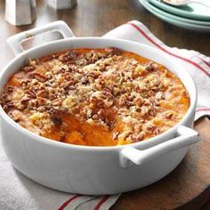 Mom's Sweet Potato Bake Recipe -Mom loves sweet potatoes and fixed them often in this creamy, comforting casserole. With its nutty topping, this side dish could almost serve as a dessert. It's a yummy treat! —Sandi Pichon, Memphis, Tennessee