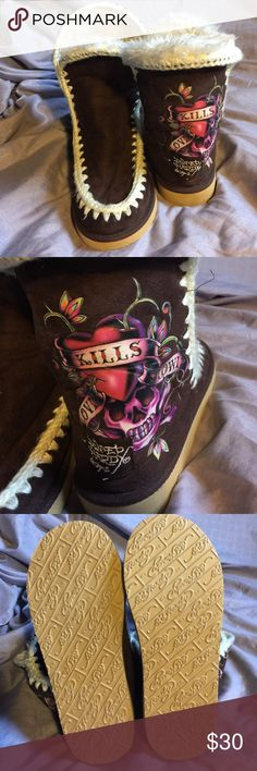 Ed Hardy light weight boots Brand new, never worn Ed Hardy Shoes Winter & Rain Boots