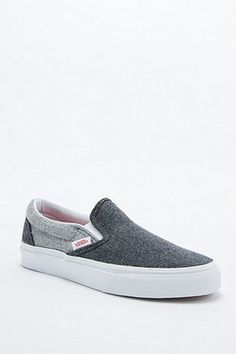 Vans Slip On Classic Grey Flannel Trainer Cute Sneakers, Slip On Sneakers, Sock Shoes, Shoe Boots, Baskets, Vanz, Grey Flannel, Vans Slip On, Girls Shoes