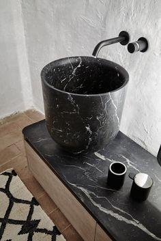 Countertop round washbasin ORIGIN | Carrara marble washbasin - INBANI