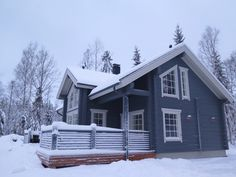 Finnlamelli loghouse. Paint colours are Tikkurila 565x and 555x.