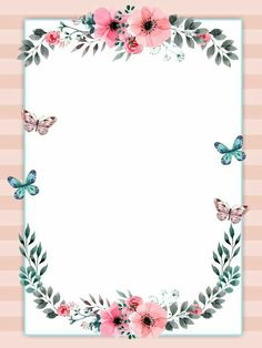6 inspirational mini posters for the classroom Boarders And Frames, Party Set, Invitation Background, Watercolor Plants, Frame Background, Floral Border, Flower Backgrounds, Note Paper, Writing Paper