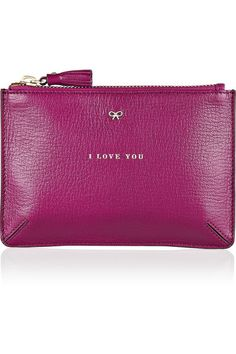 """The """"I Love You"""" leather pouch by Anya Hindmarch is a perfect Valentine's Day gift - and a must-have essential."""