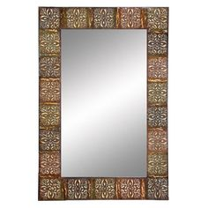 Use metal/tin ceiling tiles for boarder around large wall mirror - Ledlow Wall Mirror