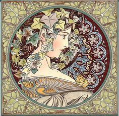Historic Tiles Mucha Ivy Lady