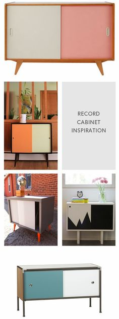 Clean Slate: A Retro Record Cabinet Re-Do | crushing on the black and white one.