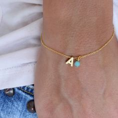 Tiny Initial Bracelet  Gold Letter Bracelet  by lizaslittlethings, $15.00