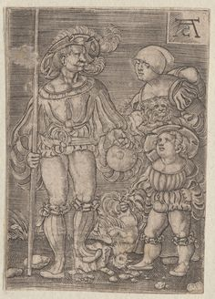 1450-1600 Claesen, Alart (engraver) Soldat und seine Familier. One of a collection of illustrations of Austrian soldiers. Soldier on left standing next to his wife and child. Copyright - Anne S.K. Brown Military Collection at Brown University.