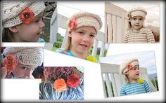 Interchangeable flowers, crochet, hats, little girls