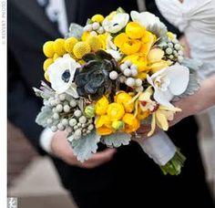 Joli bouquet jaune et gris