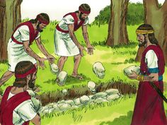 They threw Absalom's body into a deep pit in the forest and piled a great heap of stones over it. Absalom's army fled to their homes. – Slide 21