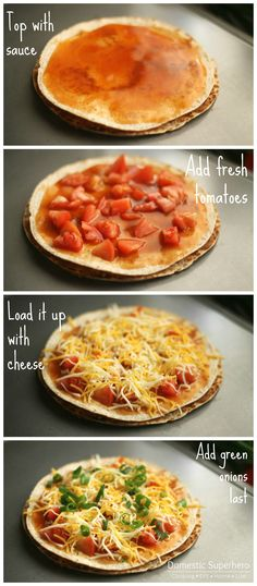 Taco Bell Mexican Pizzas - add taco meat, green onions and cilantro.