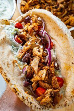 Chicken Gyros, Chicken Piccata, Chicken Skewers, Roast Chicken, Shawarma Seasoning, Marinate Meat, Salad Sauce, Small Chicken, Sliced Tomato