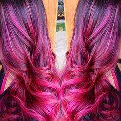 Fuschia balyage ombré melt. Hair by Danni Sjoden at Phoebe Therese Salon www.dannisjoden.com