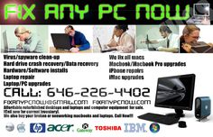 PC repair company's, magazine print ad.