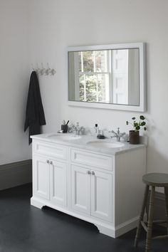Room for two? Matt White 1300 Freestanding Vanity Unit with Doors from Burlington Bathrooms http://www.burlingtonbathrooms.com/Products/ProductDetail?prodId=90655&name=Freestanding%20130%20Vanity%20Unit%20with%20doors%20-%20Matt%20White%20and%20Minerva%20Carrara%20white%20worktop%20with%20two%20integrated%20white%20basins