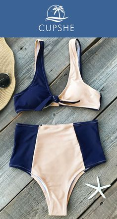 Spring New Arrival! Let this bikini set speaks for you! High-waisted fit, color blocking and  knot design. Cupshe Lost In The Dream High-waisted Bikini Set. Choose this style and find inspiration here!
