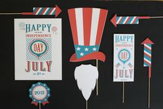 Vintage 4th of July Photobooth Props. Photo Props. Fourth of July Decorations